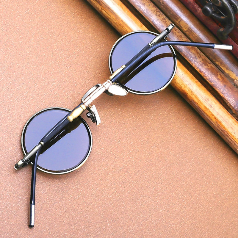 Vazrobe صغيرة مستديرة النظارات الشمسية الذكور الزجاج نظارات الرجال إطار من التيتانيوم Steampunk خمر الشرير ريترو النساء Lennon نظارات