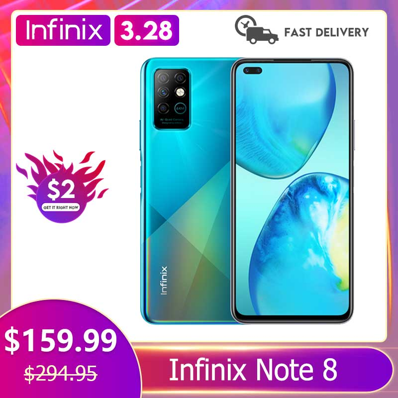 Infinix Note 8 6GB 128GB Global Version Mobile Phone 6.95'' HD+ Display 5200mAh Battery 18W Fast Cha