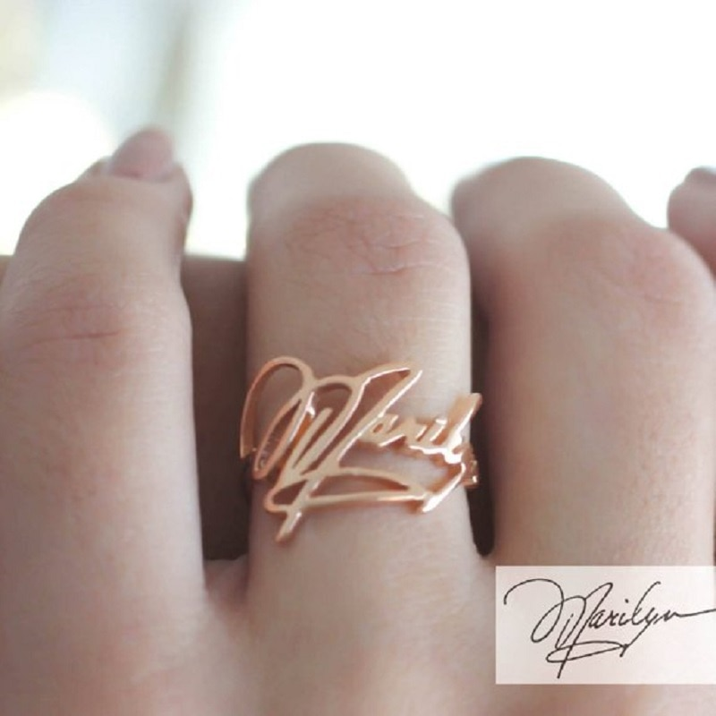 Personality Signature Rings For Women Handmade Jewelry Any name custom ring Gold stainless steel bridesmaid wedding jewelry bff custom name high quality stainless steel wholesale simple ring fashion gold rings jewelry for women s exclusive wedding ring