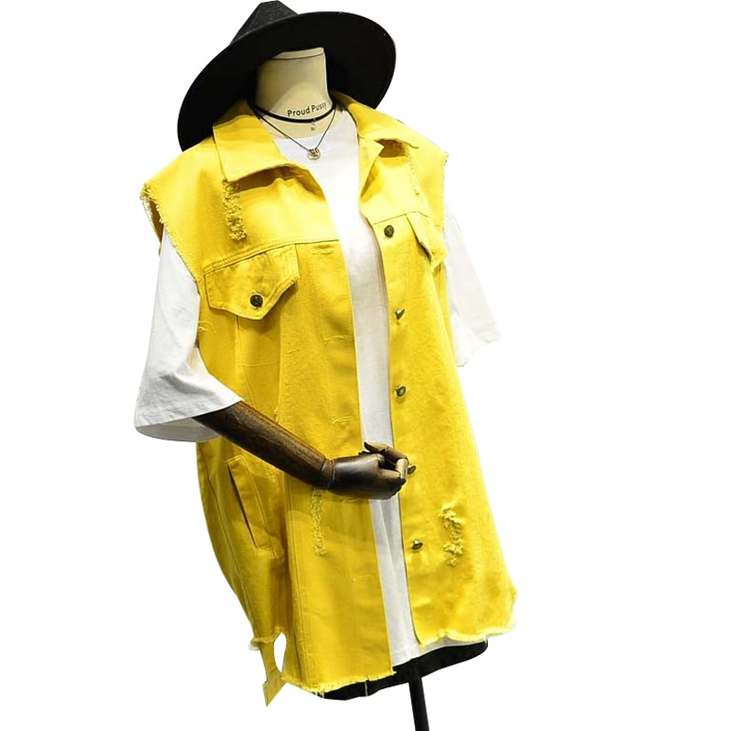 Chaqueta sin mangas de talla grande amarilla para mujer, chaleco vaquero blanco y negro, chaqueta vaquera de longitud media suelta coreana, cárdigan con agujero asimétrico para mujer