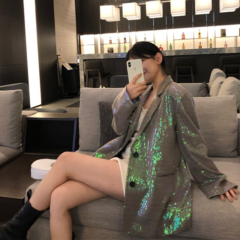 Women Fashion Shining Sequin Plaid Blazers Lapel Long Sleeves Lady Outwear Spring Autumn Casual Loose Single Breasted Big Pocket
