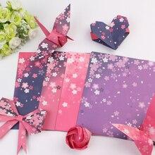 60 piezas de papel cuadrado de Origami de doble cara de flor de cerezo plegable colorido Sakura papeles niños hechos a mano DIY Scrapbooking Craft Decor