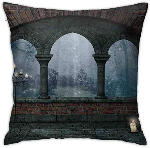 Pooizsdzzz Personalized Abraction Medieval Cale at Night with Arch and Candles Middle Age Miy Image Decorative Pillow Cover