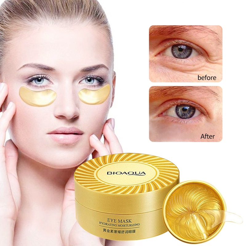60pcs BIOAQUA Gold Collagen Eye Mask Anti Wrinkle Repair Crystal Eye Patch Moisturizing Dark Circles Remover Eye Mask Eye Care недорого