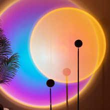 Светодиодная лампа с закатом, ночник для проектора, Радужный Настенный декор, проекционная лампа с USB, закат, красная атмосфера, украшение ко...