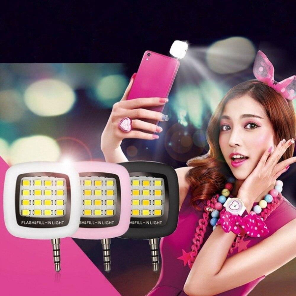 16pcs LED Mini Flash de relleno de luz brillante luz de vídeo LED lámpara adecuado para teléfono móvil Selfie brillo fotografía de la lámpara 3,5mm