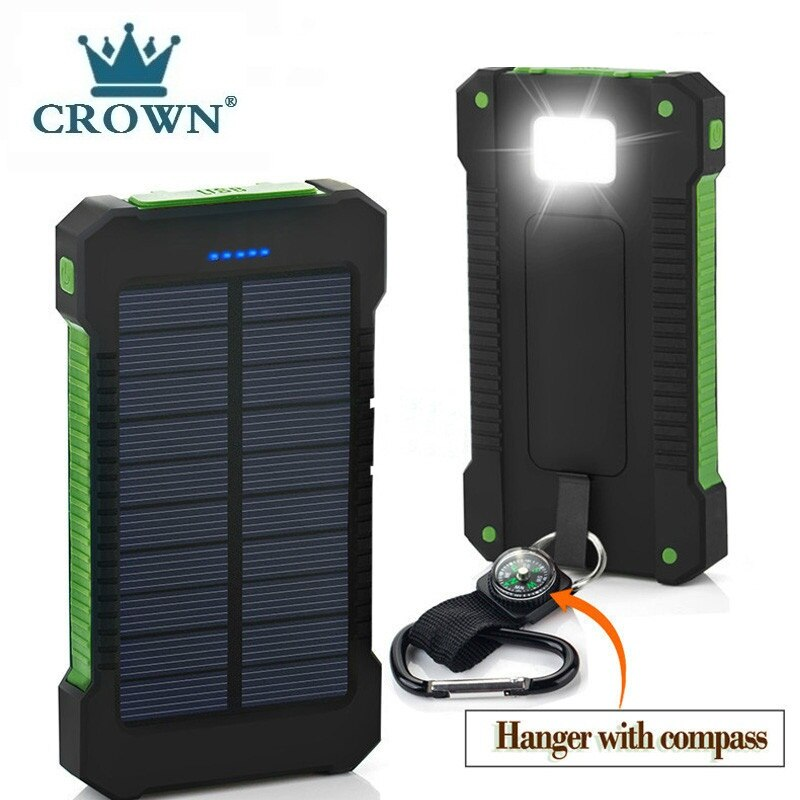 Solar Power Bank Waterproof 30000mAh Solar Charger USB Ports External Charger Powerbank for Xiaomi 5