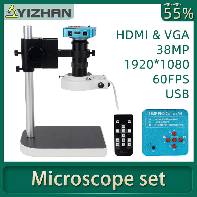 1080P HDMI VGA digital mikroskop für elektronische löten 130X 38MP mikroskop kamera USB LED Ring Licht professionelle reparatur