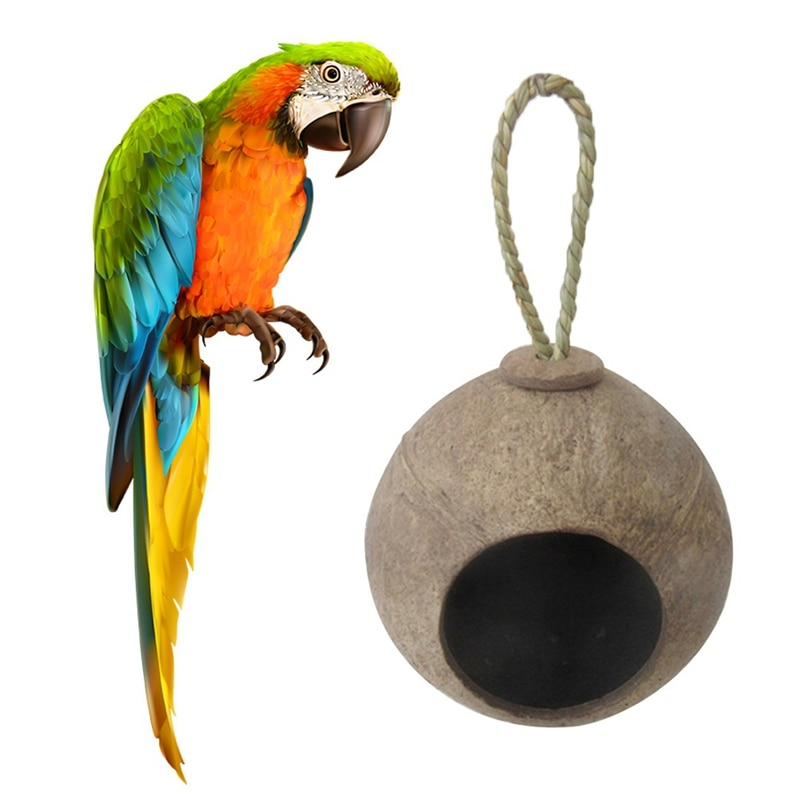 Creative Natural Coconut Shell Nest for Birds House  Cage Feeder for Pet Parakeets Finches Sparrows Hut Pet Parrot Parakeet Toy