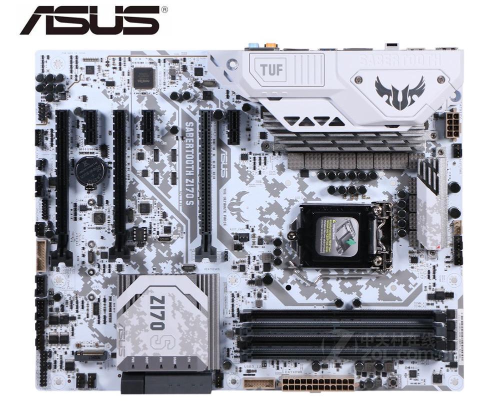 Kullanılan masaüstü anakart için orijinal anakart ASUS SABERTOOTH Z170 S LGA 1151 DDR4 I3 I5 I7 USB2.0 USB3.0 USB3.1 64GB