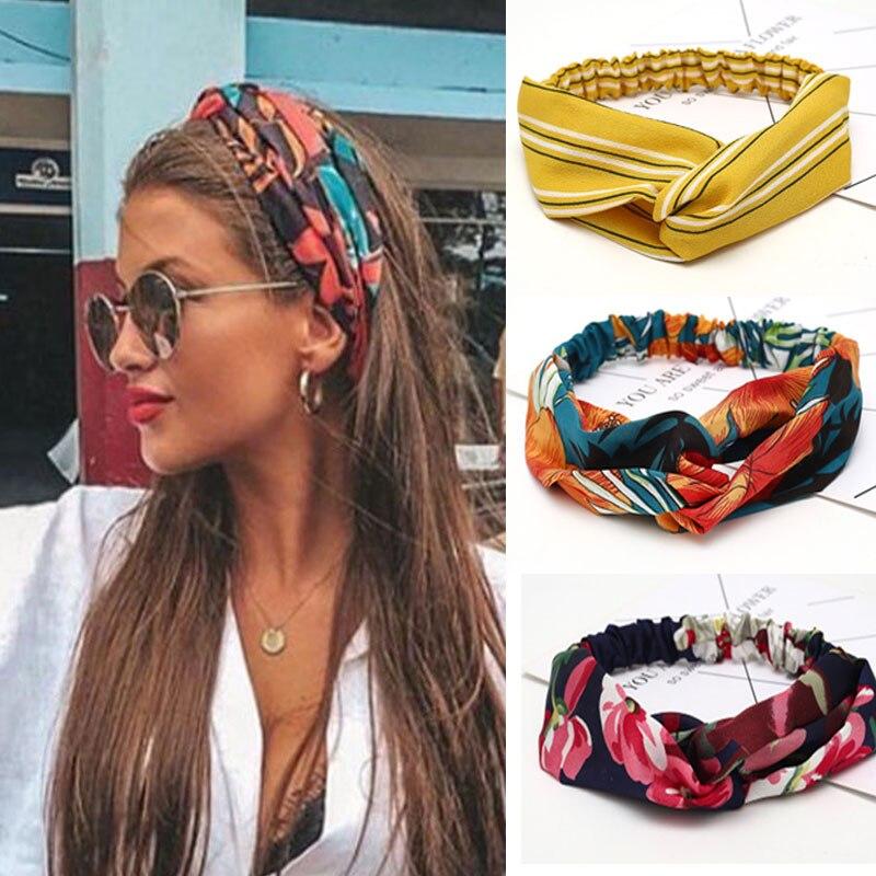 Verão Tecido Macio Cruz Faixas de Cabelo Turbante Hairband Meninas Headband Floral Senhoras da Banda Cabelo Hoop Acessórios de Cabelo Das Mulheres