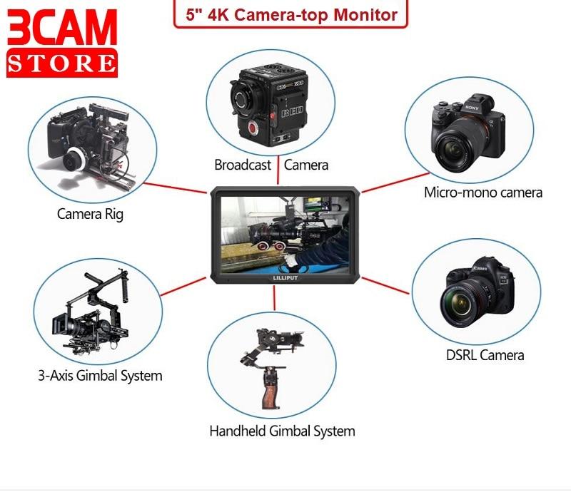 Lelle-شاشة ميدانية لكاميرا كانون/نيكون/سوني/Zhiyun/Gimbal ، مع بطارية ، HDMI ، 5 بوصات FHD A5 ، 1920x1080 ، 4K ، مع HDMI
