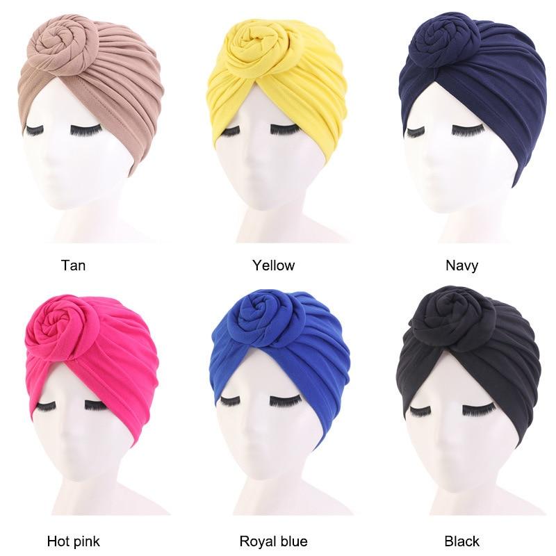 4 colores de algodón sombrero pelo peinado tapa cubierta de la cabeza de salón sombrero de noche rizado Natural pelo doble elástico de dormir de las mujeres