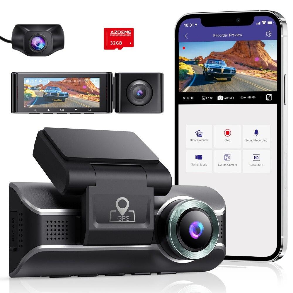 AZDOME-كاميرا لوحة القيادة للسيارة ، كاميرا لوحة القيادة ، كاميرا أمامية وخلفية ، 3 عدسات فيديو 4K 1080P ، كاميرا مزدوجة القناة ، مراقبة وقوف السيار...