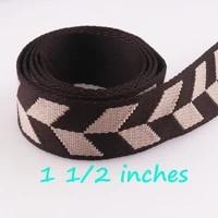 3 yards brown cotton webbing ribbon bag handle purse straps pet collars leash jacquard ribbon 38mm by the yard