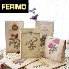 6 unids/lote Retro Flora Kraft bolsa de regalo de papel titular de la decoración de la boda fiesta Favour dulces alimentos embalaje bolsas panadería hornear paquete