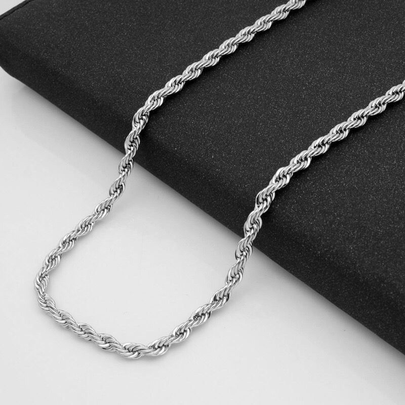 Joyería al por mayor -- (3 unids/lote) cuerda larga de acero de titanio de 50/60/70 cm (2-4mm) collares de Color blanco para hombres