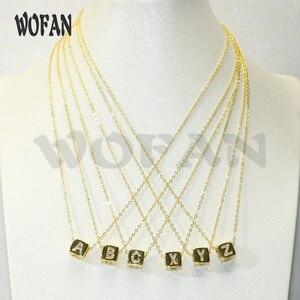 10 Pcs Zircon Micro pave letter bead charm pendant necklace Gold Color Cubic Zirconia Pendant with link chain necklace
