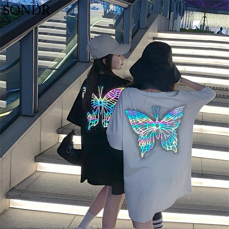 Harajuku mujer Camisetas Tops Mariposa luminosa diseño reflectante mujeres Top 2020 verano Ulzzang suelta manga corta Camiseta femenina