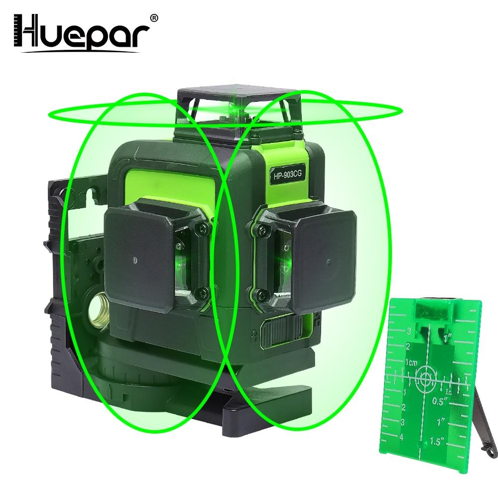 Huepar 12 Lines 3D Cross Line Laser Level Green Laser Beam Line Self-Leveling 360 Vertical & Horizontal Cross Super Powerful leter 12lines 3d laser level 360 laser electronic leveling laser beam line