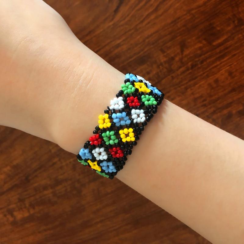 Meetvii pulsera y brazalete étnico Miyuki con pequeñas cuentas de ancho, coloridas cuentas hechas a mano de semillas, pulsera personalizada para mujeres y niñas