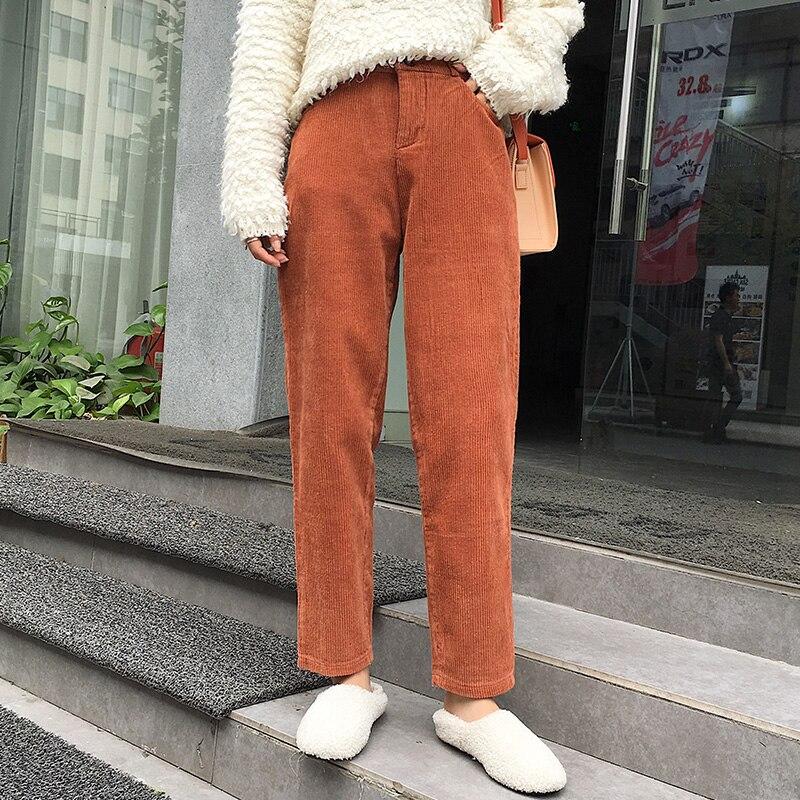 Женские брюки, женские шаровары, Осенние вельветовые брюки, корейские шикарные брюки, черные брюки с высокой талией, женские брюки