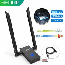 EDUP 2 * 6dBi USB sans fil Wi-Fi adaptateur USB sans fil WiFi adaptateur USB carte réseau double bande WiFi récepteur USB3.0