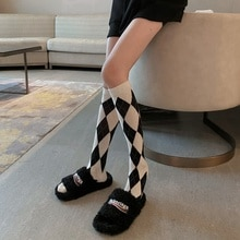 JK middle tube socks cute and beautiful girl spring and autumn wear 2021 new color matching Lingge c