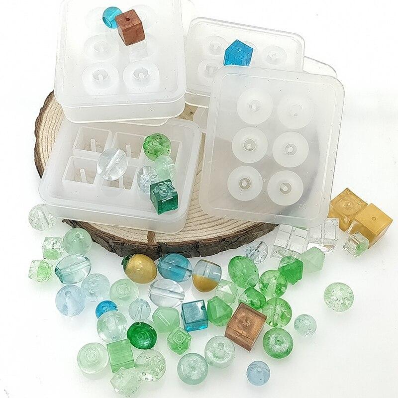 Molde de silicona con cuentas cuadrado redondo de 16mm DISEÑO DE Moldes de resina epoxi DIY pegamento de resina de Cristal AB joyería arcilla de polímero DIY molde de artesanía