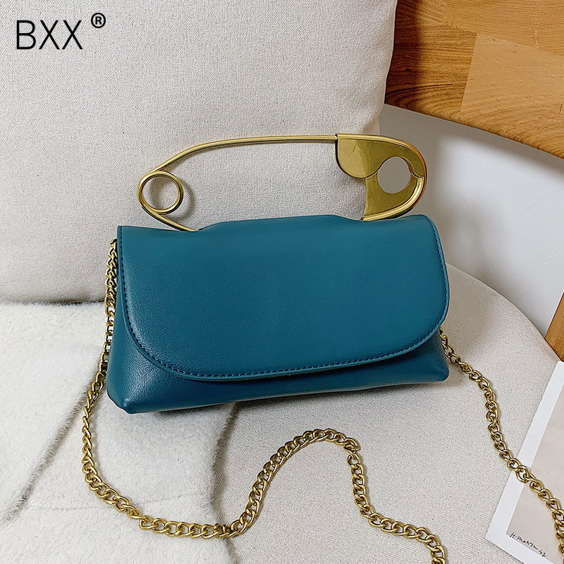 [BXX] PU Leather Solid Color Crossbody Bags For Women 2021 Spring Fashion Shoulder Bag Female Chain Travel Handbags HK706