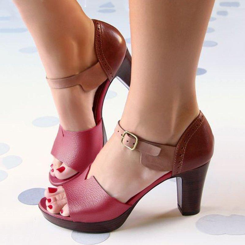 Sandalias de tacón grueso para mujer, zapatos de verano para mujer, zapatos elegantes con correa para el tobillo, zapatos de tacón alto, sandalias de cuero para mujer, bombas