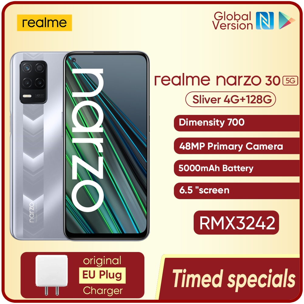 World Premiere realme narzo 30 5G Smart phone 4GB 128GB Dimensity 700 48MP Triple Camera 5000mAh Battery 90Hz Display NFC 6.5