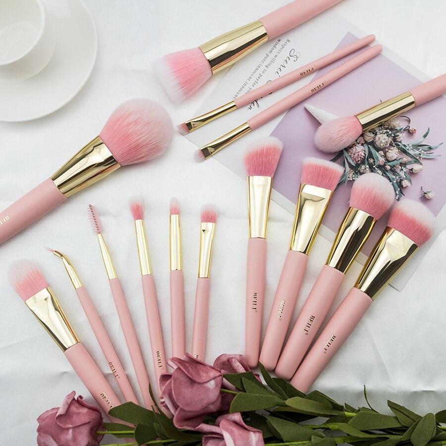 BEILI różowy syntetyczny zestaw pędzli do makijażu Powder Blusher Smoky shade mieszanie opaska na oczy matowy różowy śliczny zestaw pędzli do makijażu