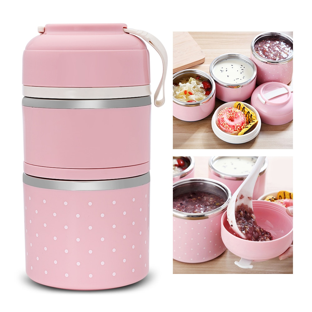 Fiambrera térmica de colores, contenedor de almacenamiento de alimentos de acero inoxidable, Linda Mini caja Bento japonesa, bolsa para comida a prueba de fugas, caja de Picnic