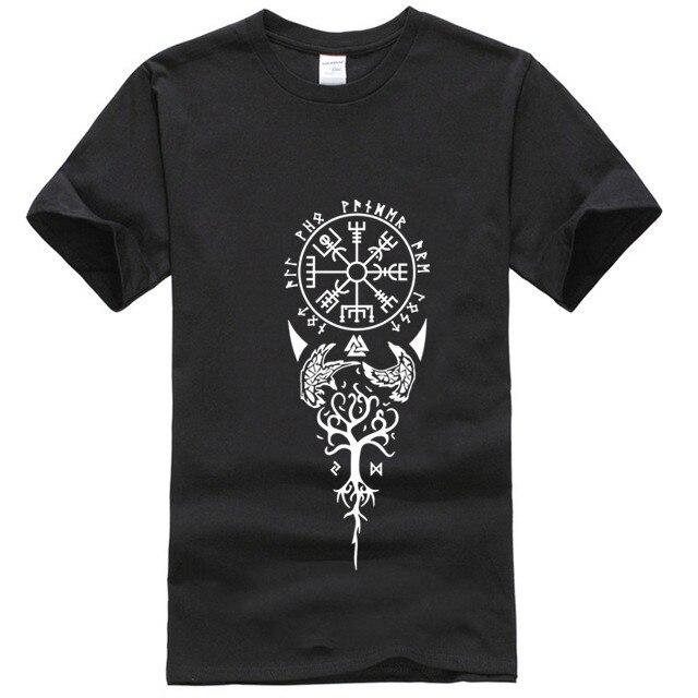 Vegvisir runas vikingo brújula nórdico símbolo camiseta letras de talla grande 5xl Crear nuevo estilo camiseta