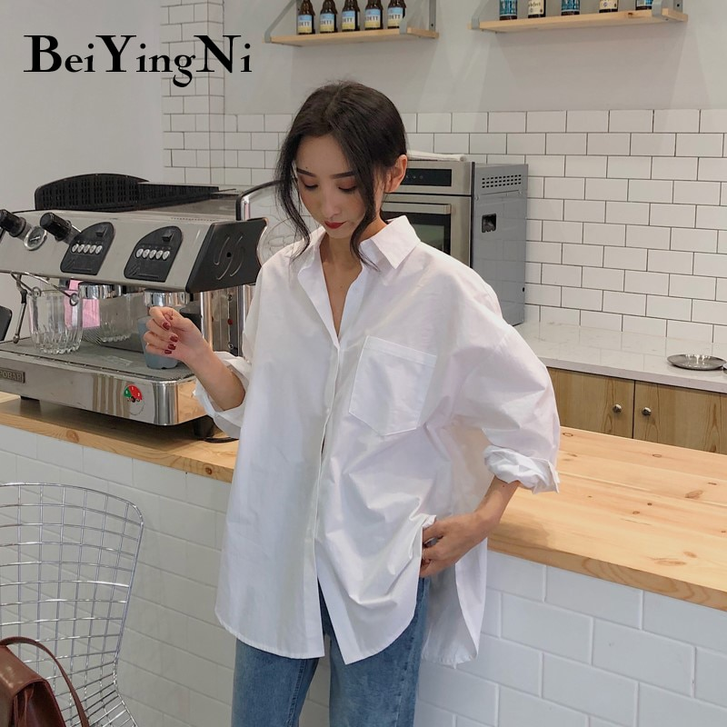 Beiyingni 2020 Spring Autumn Women Shirts White Plain Loose Oversized Blouses Female Tops Loose BF K