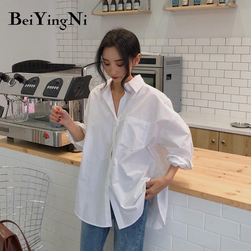 Beiyingni 2020 Spring Autumn Women Shirts White Plain Loose Oversized Blouses Female Tops Loose BF Korean Style Blusas Pockets