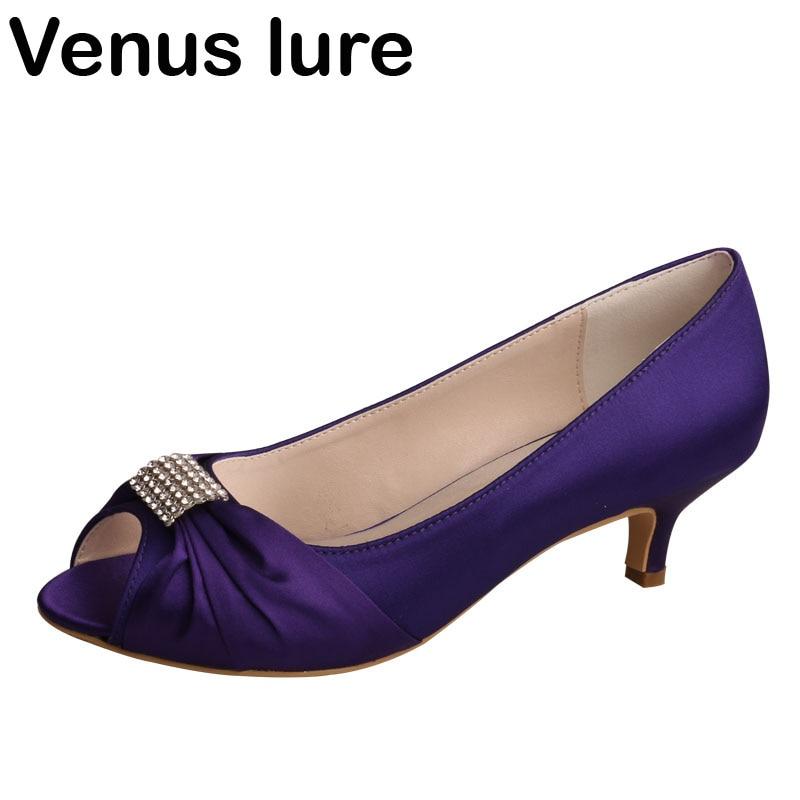 2 inch Satin Purple Shoe Heels for Wedding Bridesmaid Peep Toe Pumps