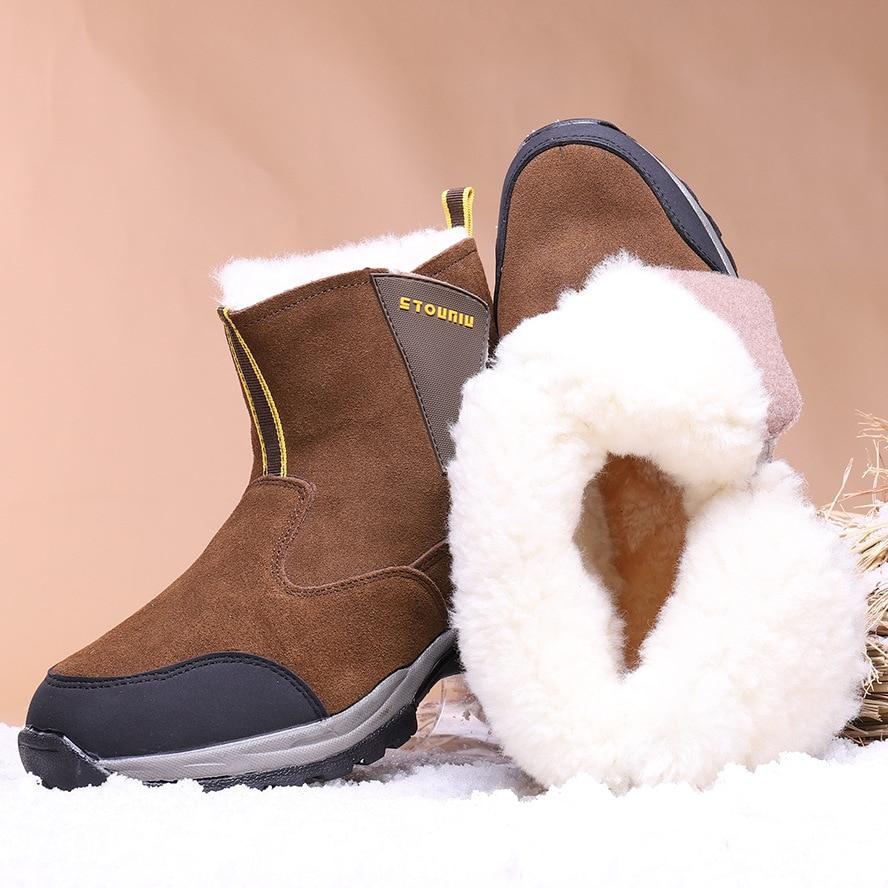 أحذية شتوية جديدة للرجال مصنوعة من الصوف بنسبة 100% ، أحذية شتوية سميكة ، أحذية دافئة مقاومة للماء ومضادة للانزلاق من جلد الغنم