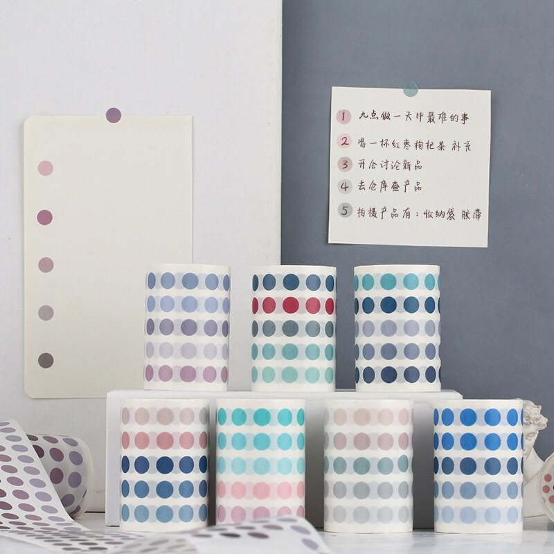 Cute List Journal Washi Tape Set Kawaii Gradient Dot Masking Tapes For Kids DIY Decorative Diary Scrapbooking Photo Ablums