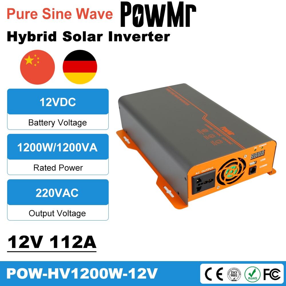 PowMr 12 فولت 220 فولت 1200 واط خارج الشبكة العاكس شاحن 1.2KW نقية شرط موجة الشمسية العاكس ل الرصاص الحمضية/بطارية ليثيوم Inversor