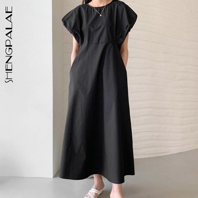 SHENGPALAE-Vestido largo de talle alto para mujer, vestido Vintage holgado elegante, con mangas abullonadas, modelo ZA4437, 2020