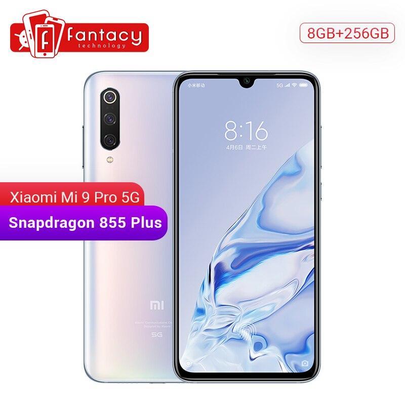 Original xiao mi 9 pro mi 9 pro (5g) 8 gb 256 gb smartphone snapdragon 855 plus 4000 mah bateria 48mp triplo câmeras 45 w qc4 +