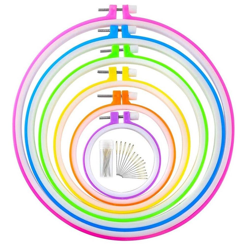 6 unidades de aros de bordado de 8,6 cm-26cm y 15 agujas de plástico, conjunto de círculos cruzados de punto de aro con aro bordado (Multicolor)