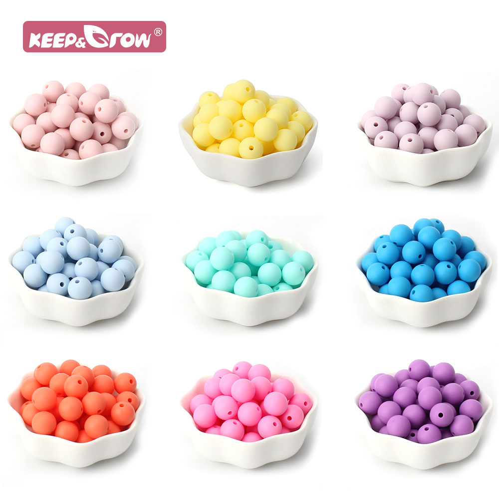 10pcs 12mm Silicone Teething Beads baby Chewable Pacifier Clips Children Products Food Grade BPA Free Baby Teether Round Beads