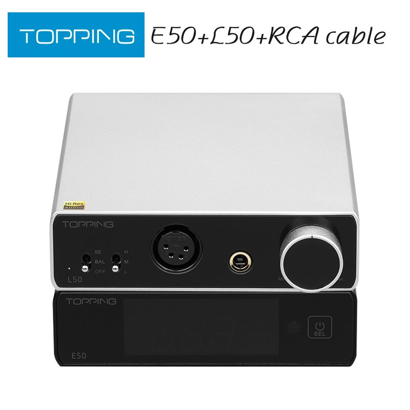 TOPPING E50 MQA فك الترميز + تتصدر L50 NFCA مضخم ضوت سماعات الأذن + كابل RCA