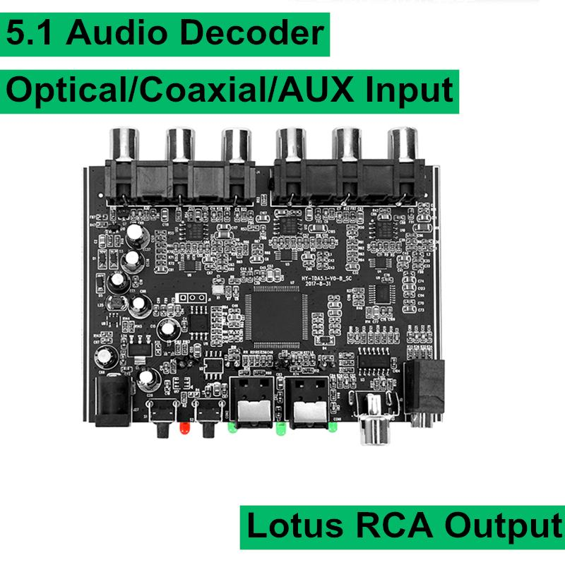 DAC Module 5.1 Channel AC-3 PCM Digital Optical Coaxial DTS RCA HiFi Stereo Audio Home Theater Decoder Decoding Board Amplifier