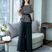 large womens 2020 summer new foreign style suit chiffon shirt wide leg pants leisure two piece set