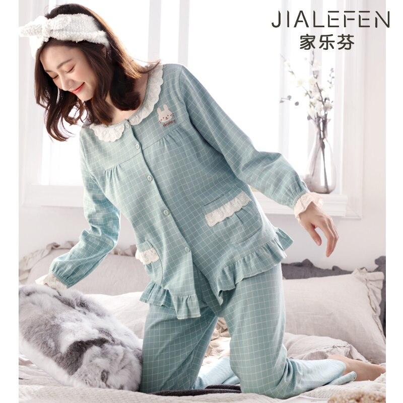 منامة المرأة الربيع والخريف القطن بأكمام طويلة Homewear الصيف رقيقة القطن منتصف العمر أمي النساء الطازجة مجموعة