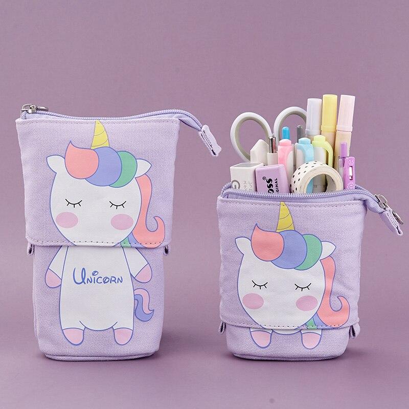 Flexible Big Pencil Case Fabric Quality School Supplies Bag Stationery Gift Cute Pop Up Kawaii